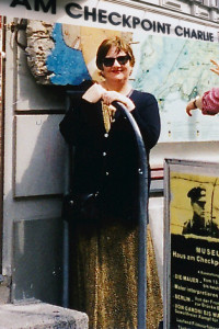 Jane McCreery at Checkpoint Charlie in Berlin, 1999