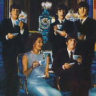 Beatles having tea with Queen Elizabeth, by Guy Peellaert