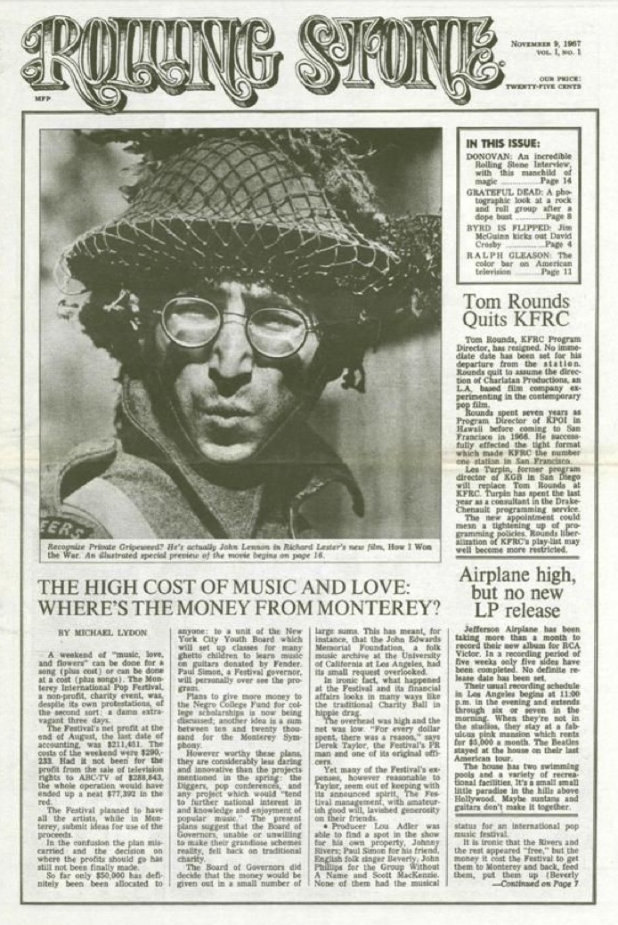 John Lennon on cover of first issue of Rolling Stone, November 9, 1967