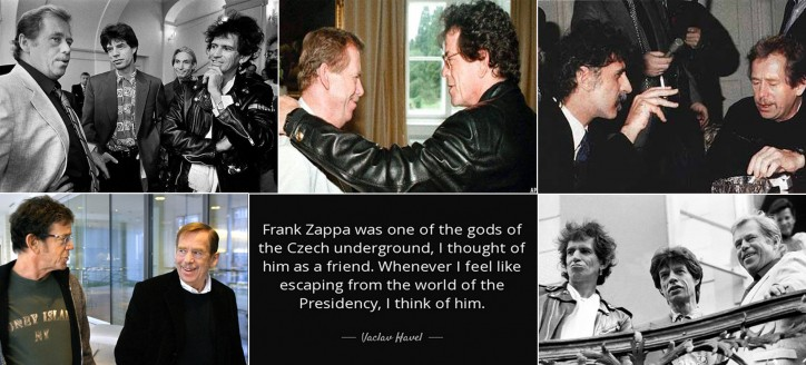 Czech President Vaclav Havel with Lou Reed, Frank Zappa, Rolling Stones