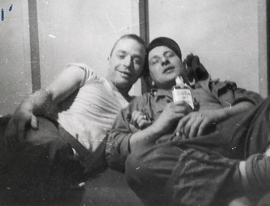 Fred Spiardi (right) and his friend Dave, relaxing in Korea, 1951