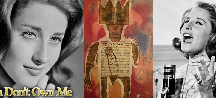 """Mixed media piece by artist/musician Karl Mullen, featuring Leslie Gore's """"You Don't Own Me"""" sheet music."""